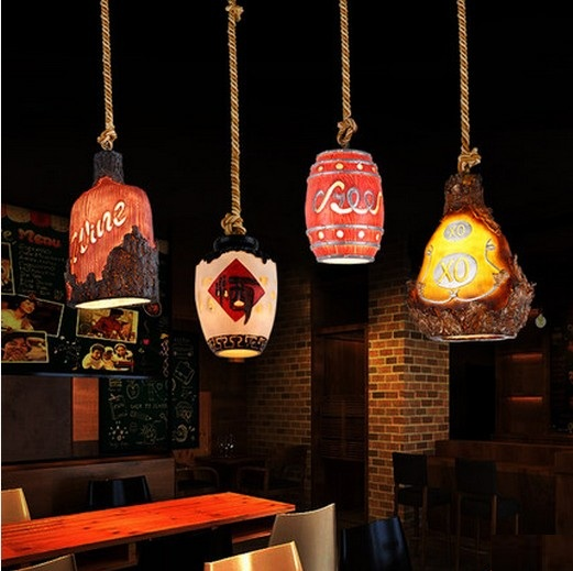 Loft Style Creative Wine Bottle Resin Droplight LED Vintage Pendant Light Fixtures Dining Room Hanging Lamp Indoor Lighting hot sale european style resin phoenix wine rack high end home accessories bar wine rack wholesale