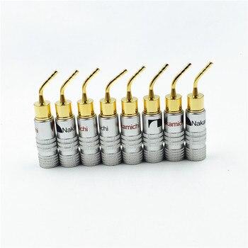 8 unids de alta calidad nuevo 24 K oro Nakamichi altavoz Pin Ángel 2mm Banana enchufes altavoz cable tornillo conector de bloqueo