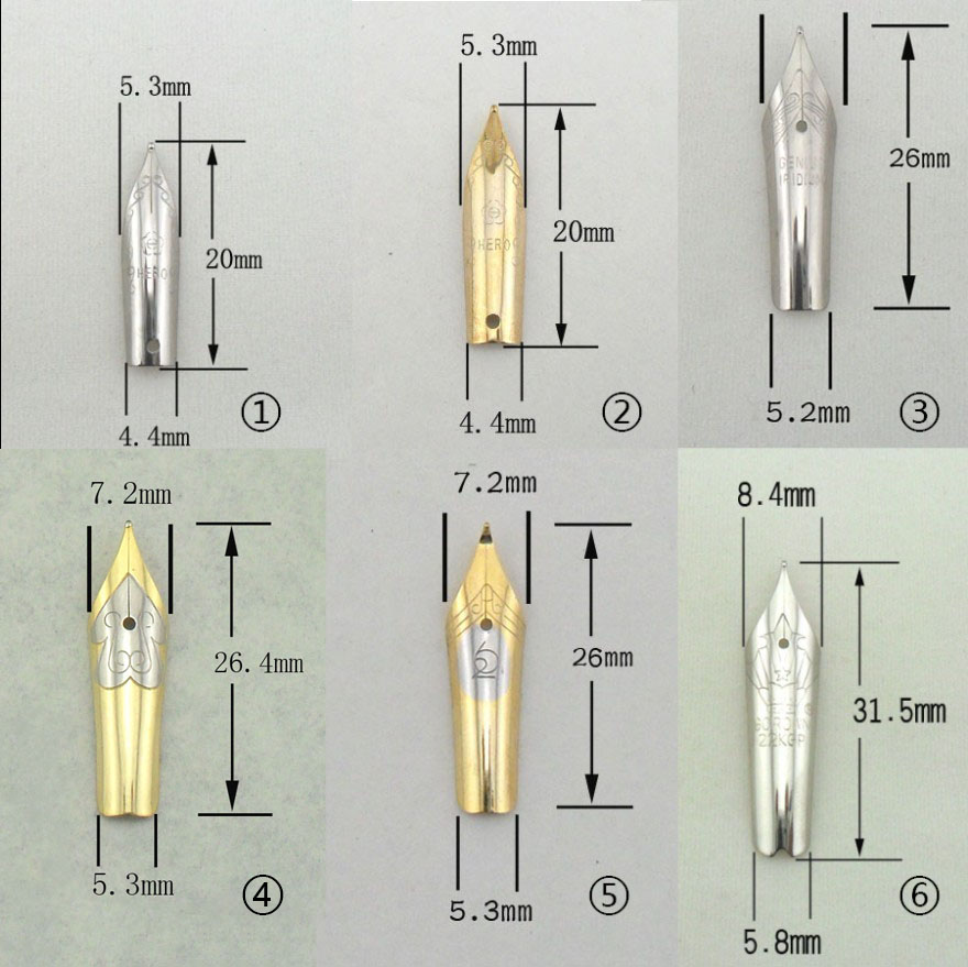 fountain pen tip nib hero pen picasso 20 26 31.5 mm  straight  curve nib two-color  FREE shipping