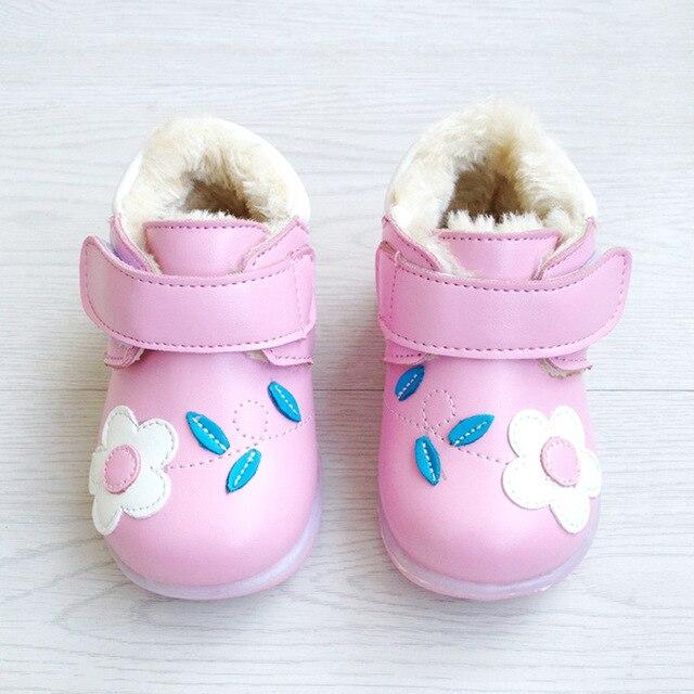 2017 зима новый большой толщиной хлопка мягкий детская обувь девушки обувь 0-3 лет ребенок принцесса обувь мигалками первый ходунки