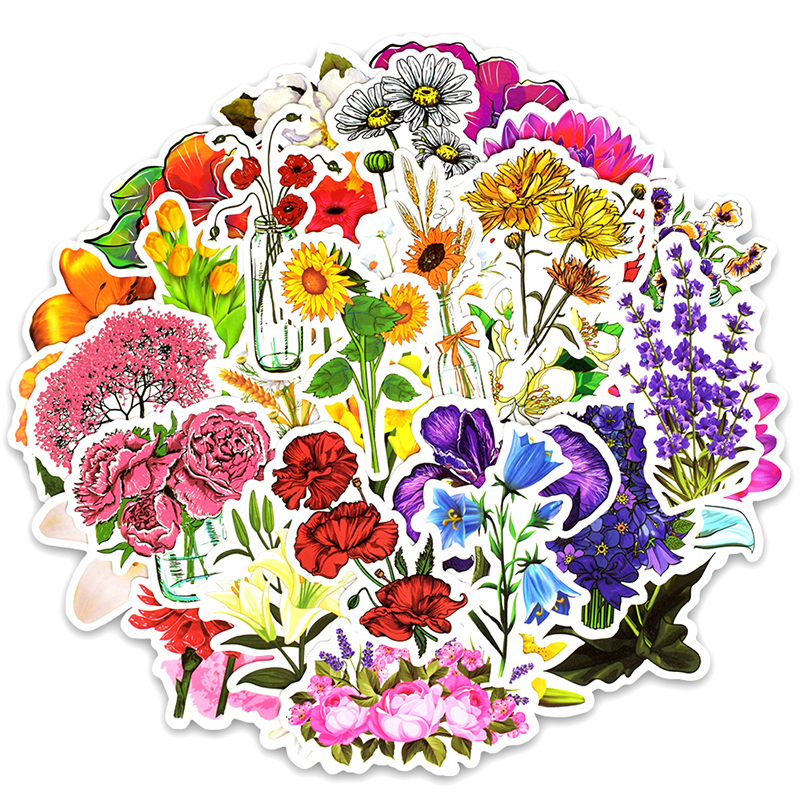 50PCS Flowers Sticker Colorful Plant Cute Painting Creative Stickers To DIY Scrapbooking Laptop Suitcase Fridge Guitar Cup F5