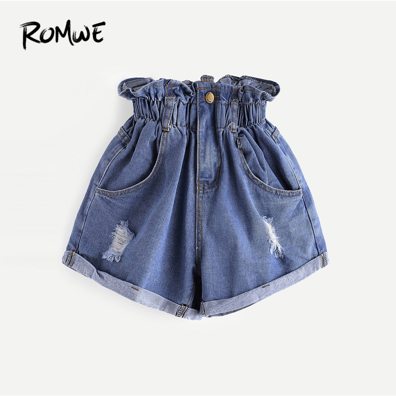 ROMWE Elastic Waist Ripped Denim Shorts 2019 Blue Fashion Women Summer Button Fly Streetwear Shorts Posh High Waist Shorts