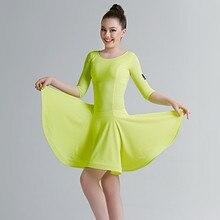 a069dbf6959ce 5 couleurs jaune latin robe pour filles danse costume latin salsa robe  latino danse robe frange