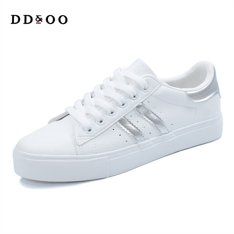 woman fashion casual platform striped PU leather classic cotton women casual lace-up sneakers