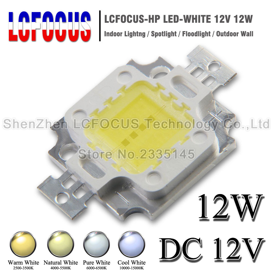 Wholesale DC 12V High Power LED Chip 12W Warm Natural Cool White 3W COB SMD 45mil For 12W Living Home Lighting Floodlight Bulb