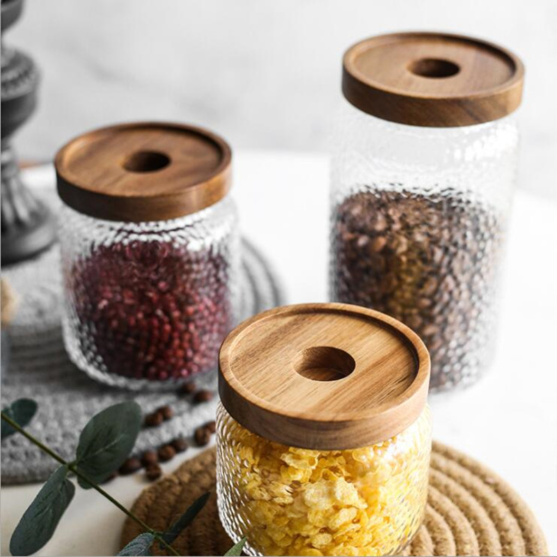 Three Sizes Glass Storage Tank With Wood Cover Spices Sugar Jar Container Kitchen Food Bottle Coffee Beans Tea Caddy 1pc-A
