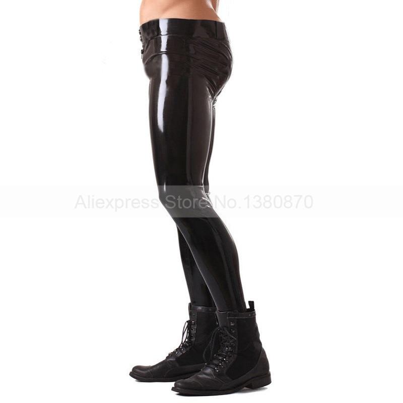 Solide Noir Mâle Caoutchouc Latex Pantalon Homme Sexy Pantalon avec Ceinture S-LTM013 - 2