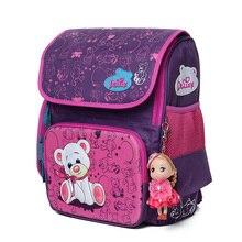 Delune Cute School Bag Orthopedic backpack Children School Backpacks Character Zipper Backpack For Kids Girls Boys
