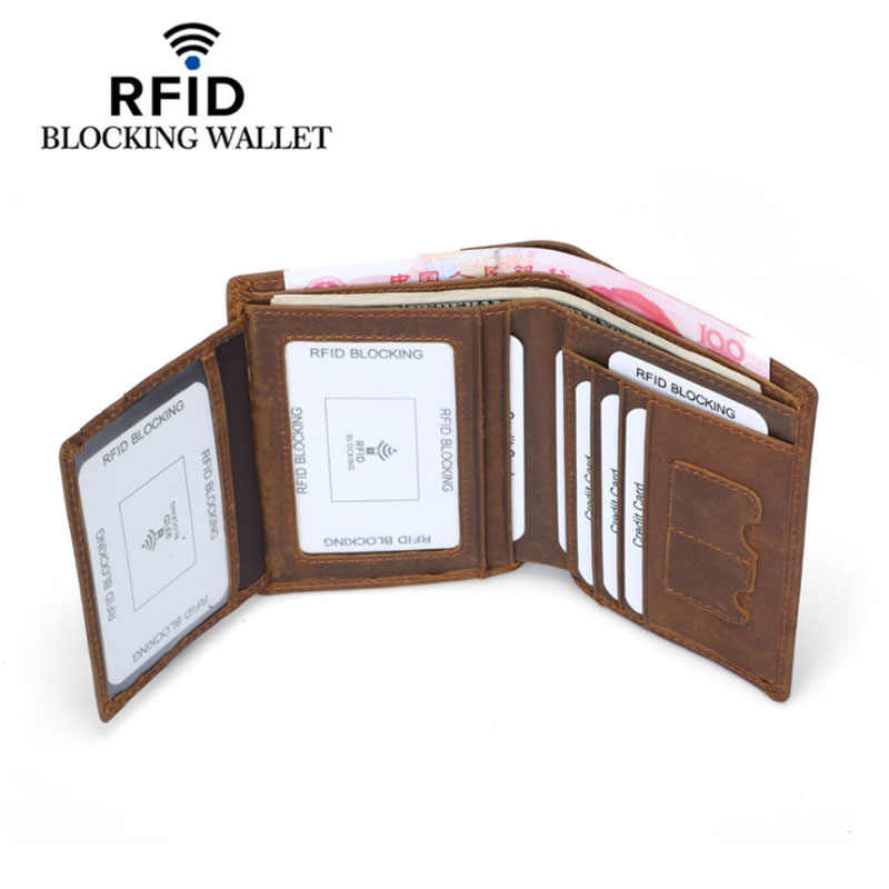Genuine Cowhide Leather Money Clip Wallet Men RFID Blocking Purse Crazy Horse Leather Short Wallets Trifold Clutch for Man FM101