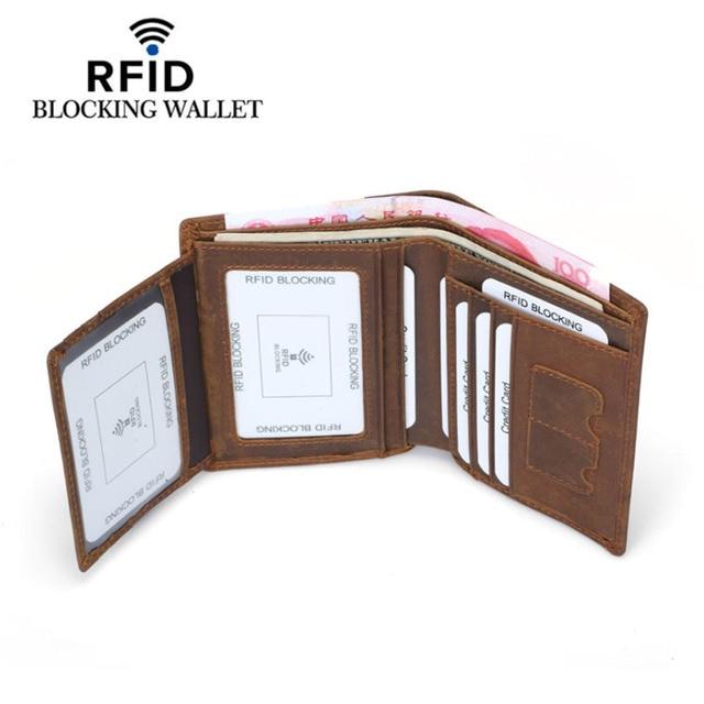 Genuine Cowhide Leather Money Clip Wallet Men RFID Blocking Purse Crazy Horse Leather Short Wallets Trifold Clutch for Man FM101