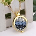 35mm Abrible Holder Flotante Locket Collares pendientes Mujeres Chapado En Oro de 33mm de Cristal Azul MI Disco Monedas En Colgante