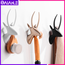 Robe Hook Black Bathroom Hook for Towels Key Bag Hat Decorative Deer Head Clothes Coat Hook Rack Wall Hanger Bathroom Hardware robe hook black clothes coat hook wall hanger decorative deer head bathroom hook for towels key bag hat rack bathroom hardware
