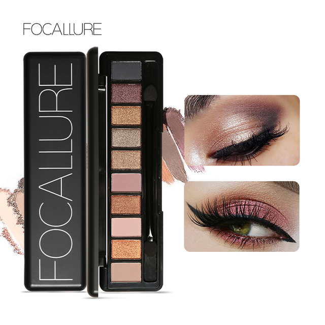 FOCALLURE New Pro 10 Colors Set Women Waterproof Makeup Eyeshadow Palette Eyebrow Eye Shadow Powder Cosmetic with Brush