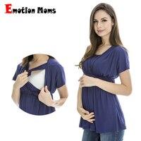 Emoción Moms verano Maternidad ropa de enfermería superior de enfermería lactancia Tops embarazo ropa para mujeres embarazadas Maternidad Tops