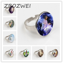ZBOZWEI 2018 Blessed Virgin Mary Mother of Baby Ring Jesus Christ Christian Ring Catholic Religious Glass Tile Ring gift