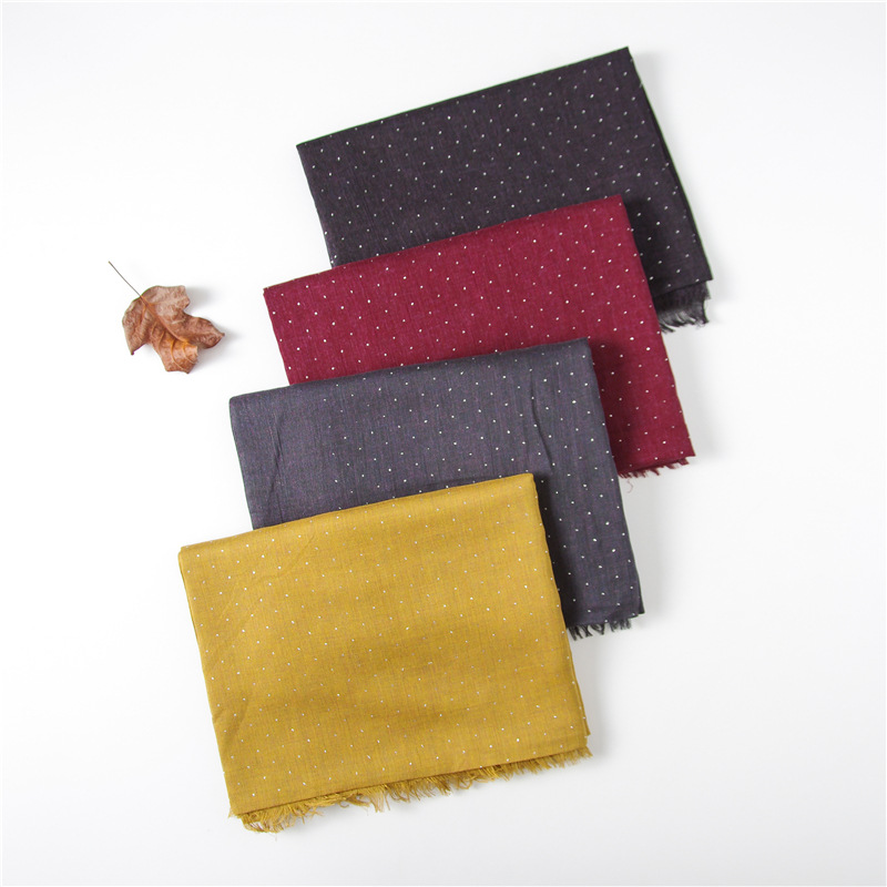 2018 New Plain Color Gillter Fringe   Scarves   Shalws Women Cotton Spot Dot Luxury   Scarf     Wrap   Hjiab Muffler 10 Color 10pcs/LOT