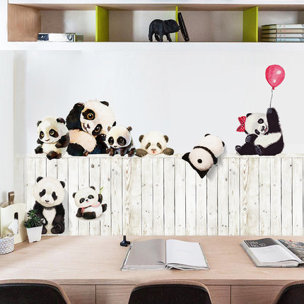 Us 8 51 Off Lovely Panda Self Adhesive Wallpaper Kids Wall Sticker Animal Living Room Baby Nursery Decor Poster Adesivo De Parede In