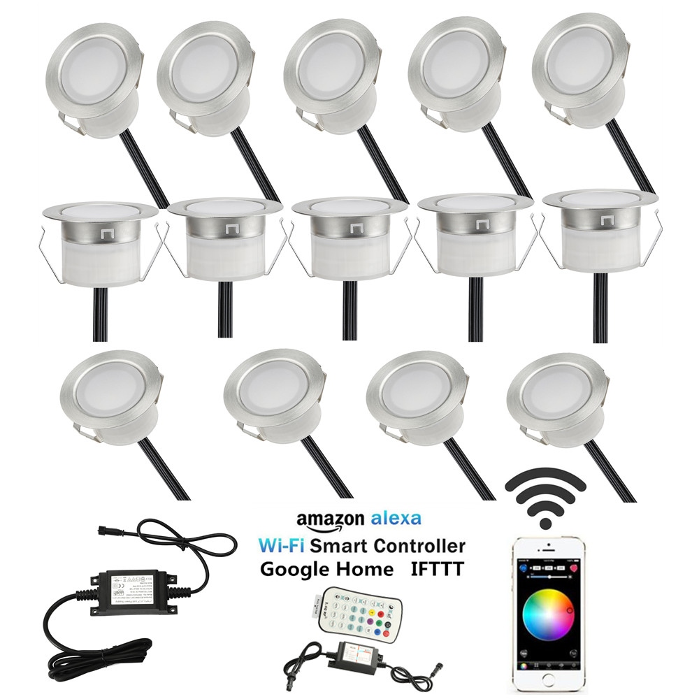Us 122 21 3 Off Pack Of 14 Rgbw Rgb Warm White Terrace Led Deck Lighting Kit Stainless Steel Waterproof Outdoor Landscape Garden Yard Patio In