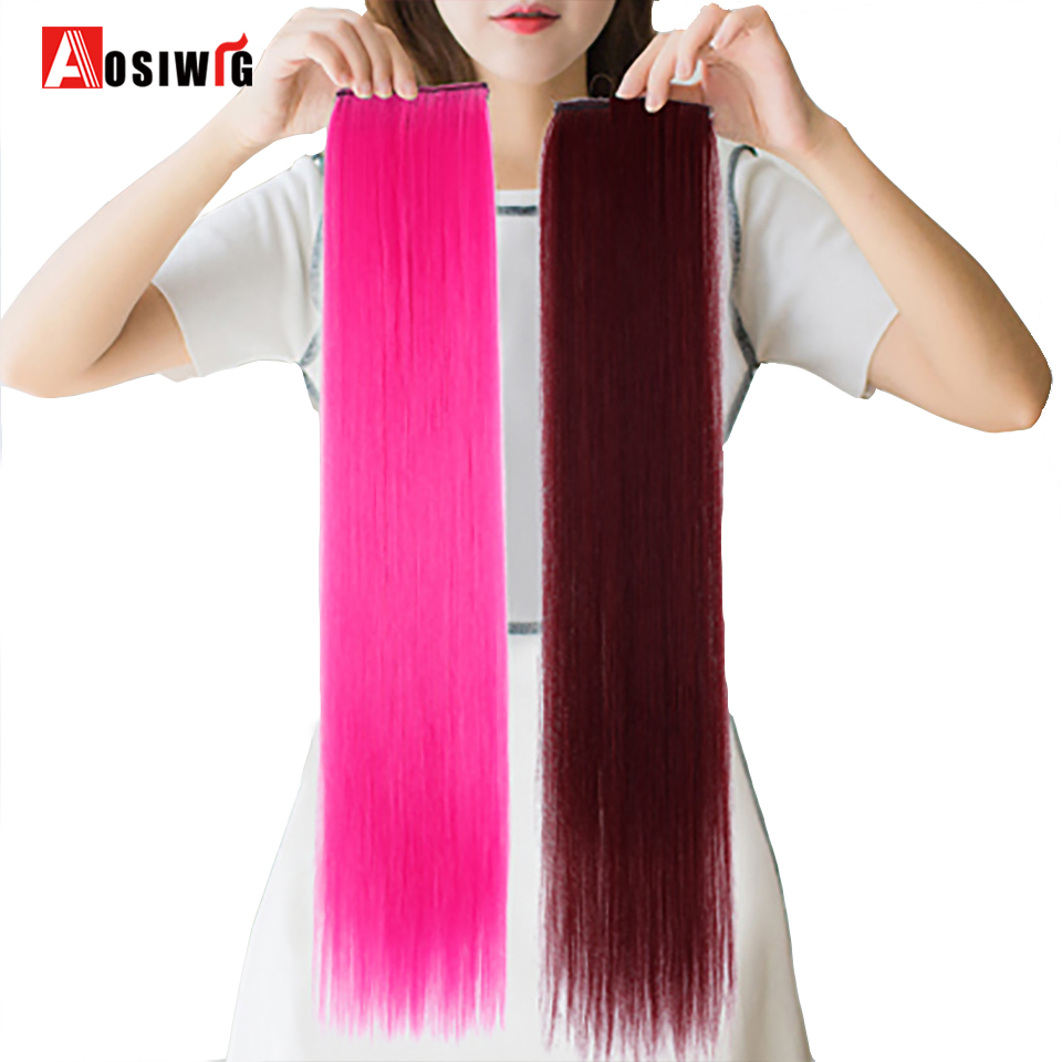 AOSIWIG 2 Clip-in One Piece Hair Extensions Pure Color Long Straight Synthetic Heat Resistant Hair