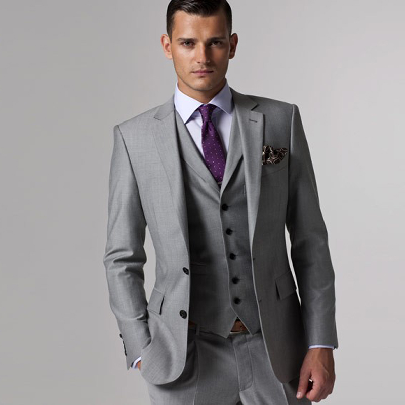 Three Piece Gray Mens Suits Notched Lapel Custom Made Wedding Groomsmen Tuxedos (Jacket + Vest Pants)