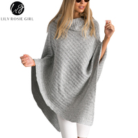 Lily Rosie Girl Women Casual Turtleneck Pullover Sleeveless Irregular Sweaters Winter Knitted Jumpers Grey Autumn 2018