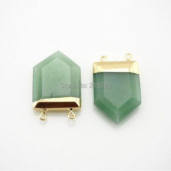 PS0586 Faceted Aventurine Point Pendant with Gold Or Silver Electoplated Cap Double Bail Pentagon Aventurine Quartz Charm фото