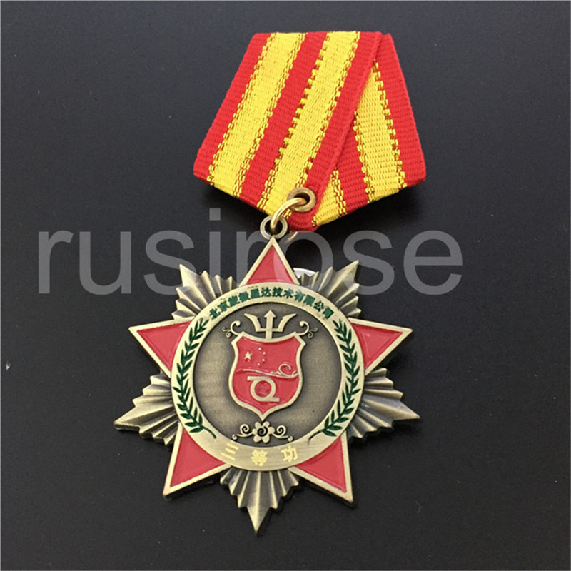 Excessive-Finish Vintage Medal Medal Customized, 5-Pointed Star Honor Medal Medal, Electroplating Inexperienced Bronze, Can Laser Textual content
