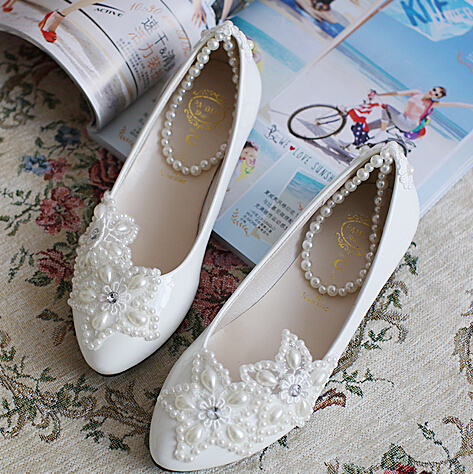 pearl bandage bridal shoe white handmade sea star starfish pearl flats shoe  heavy hadmade party shoes different heel XNA 047-in Women s Flats from Shoes 0c579fbc3e7e
