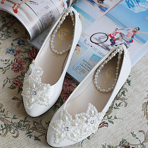 pearl bandage bridal shoe white handmade sea star starfish pearl flats shoe heavy hadmade party shoes different heel XNA 047