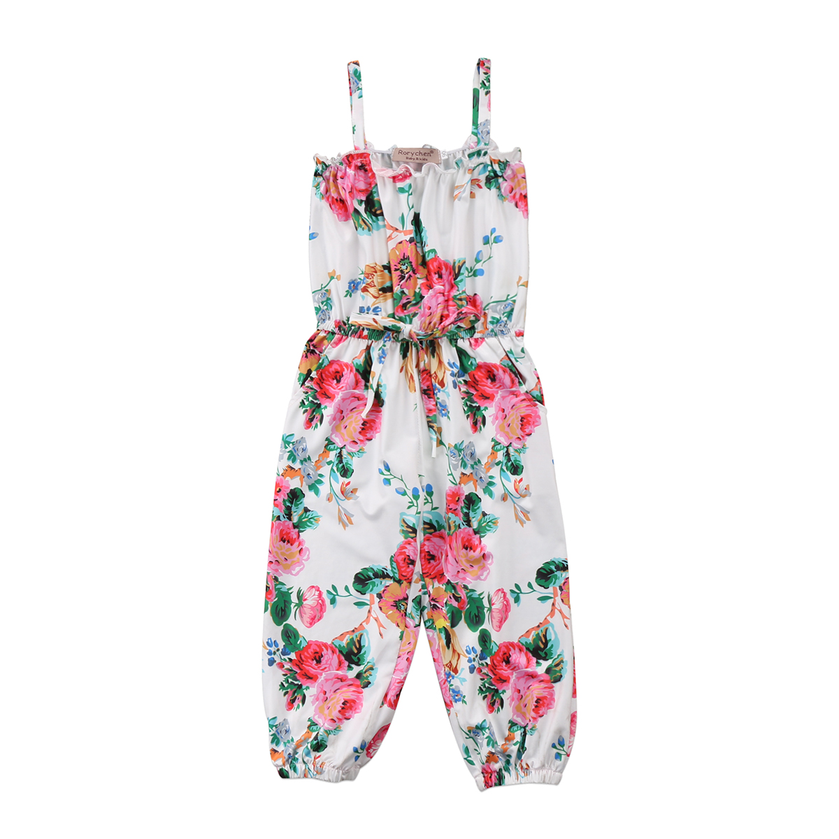 Cute Toddler Kids Girls Floral Overall Romper Halter Sleeve Casual Jumpsuit Outfit Clothes Summer New 2-7T