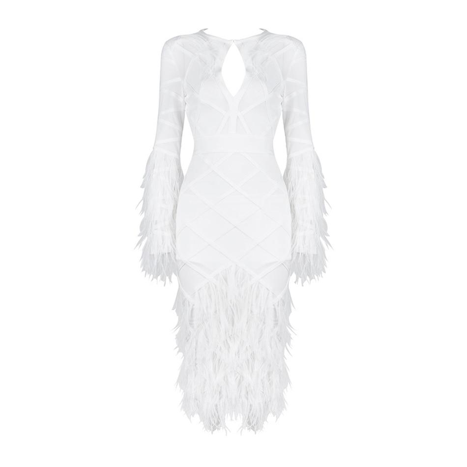 O Party Femmes Moulante Robe Nouvelles Celebrity Sexy 2017 Longue Bandage Plumes Blanc Robes Manches Cou D'été YqCW4w1