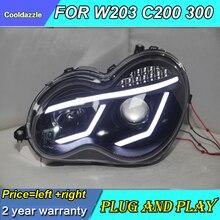 Для Mercedes-Benz 2000-2007 год W203 C63 C200 C230 C280 C300 светодиодный ангельские глазки светодиодный передний фонарь с DRL дневным светом