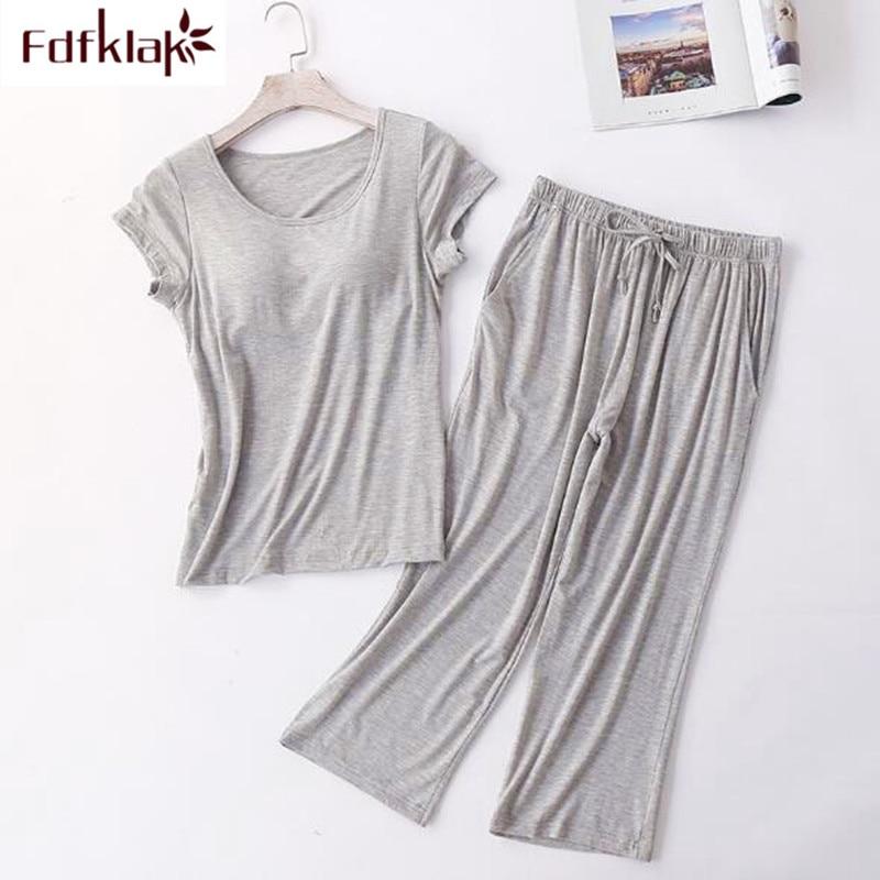 Comfortable new women's   pajamas     set   short sleeve cotton pijamas suit home wear pyjamas women spring summer pijama mujer 2019
