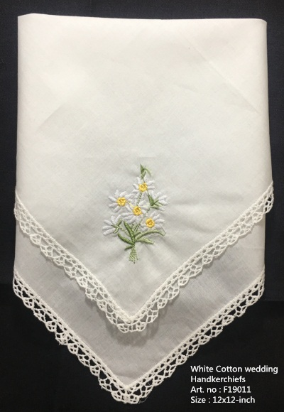 Set Of 12 Fashion Wedding Handkerchiefs White Cotton Hankies With Lace Edged And Color Embroidered Floral Hanky For Bride Gifts