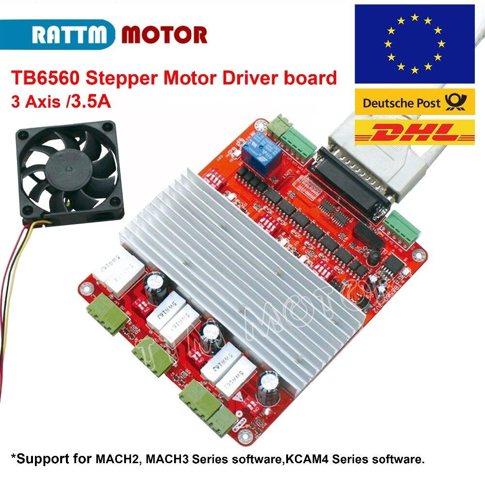 CNC 3 axes MACH3 TB6560 carte de contrôleur de moteur pas à pas 3.5A DB25 port + DC12V 0.12A ventilateur pour routeur de CNC