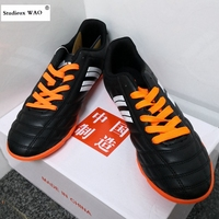 2019 Mens Football Shoes TF Cleats Outdoor Soccer Shoes Kids Boy Sneakers Boots Hard Court Trainers Black Futsal Plus size 30~45