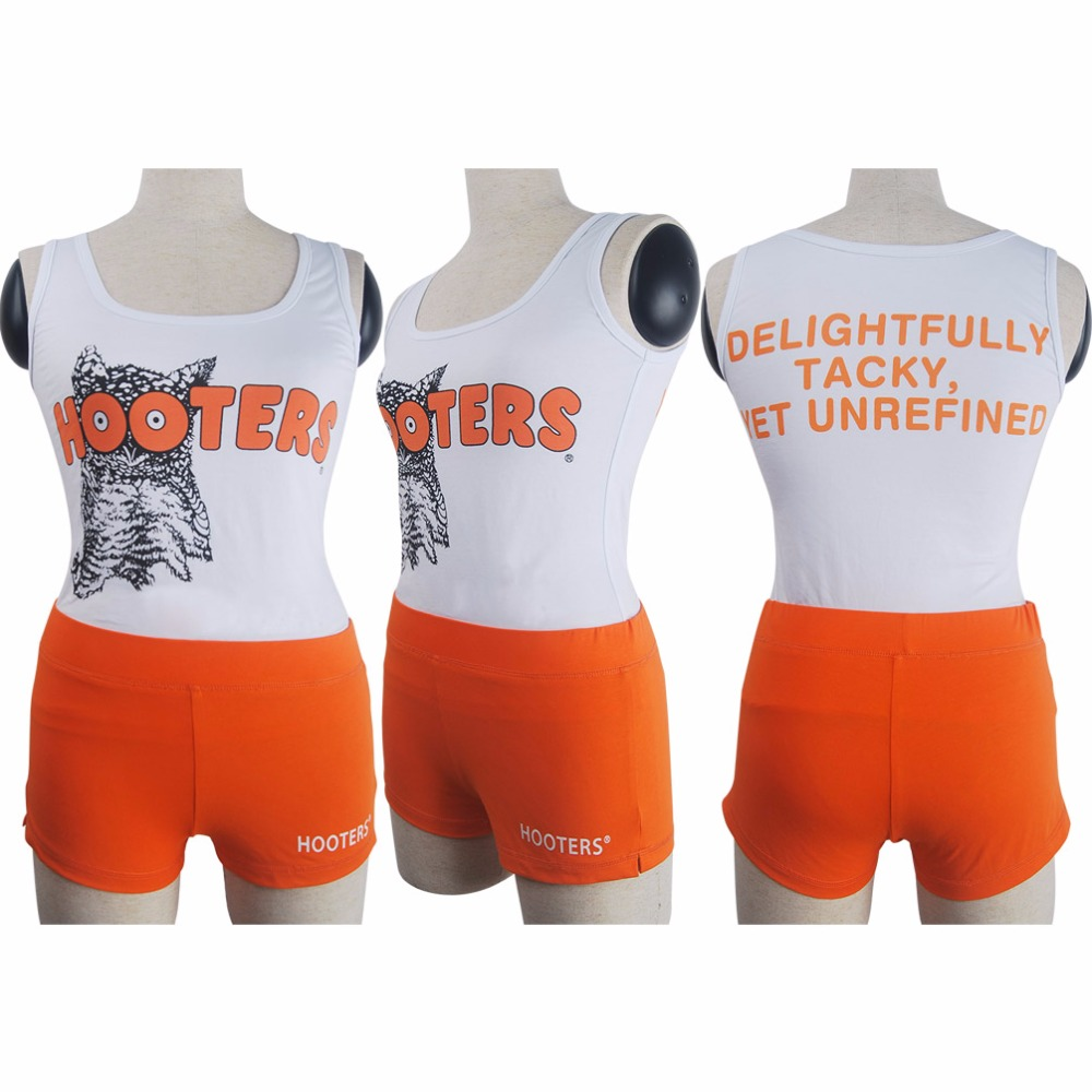Women's Girls Hooters Uniform Sexy Outfit Bar Maid Shorts Tank Top Halloween Costume