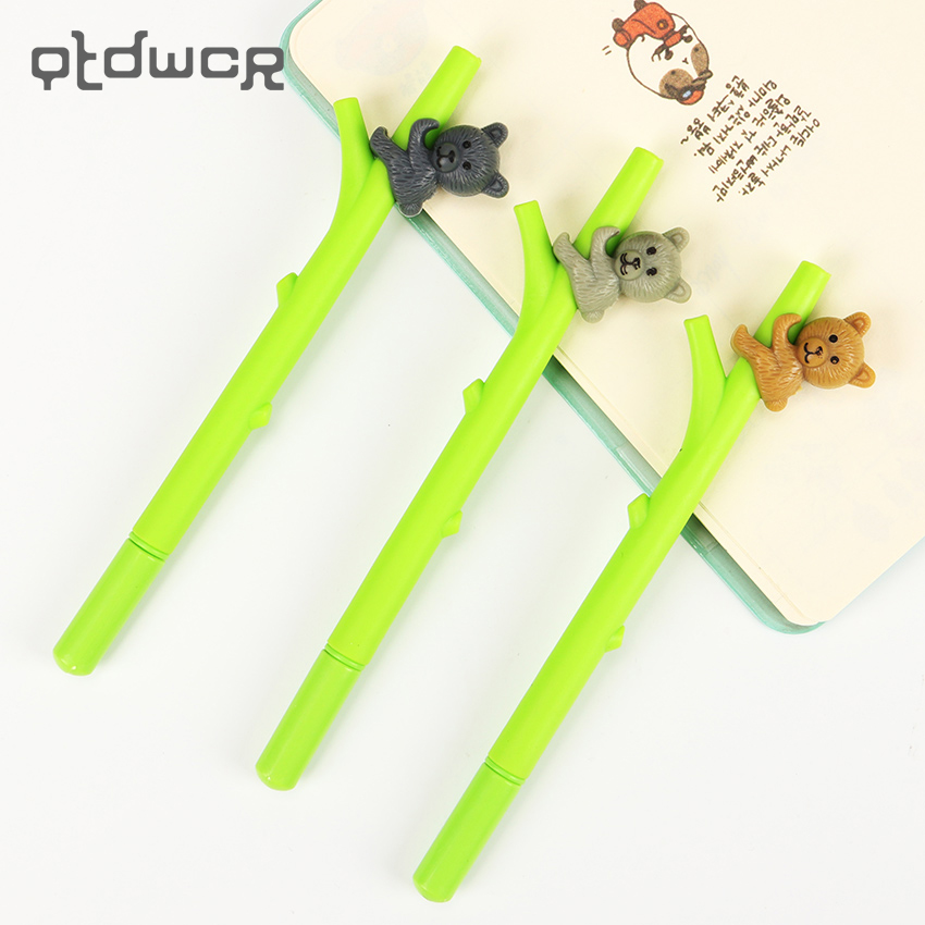 3PCS Kawaii Students Stationery Cartoon Koala Neutral Pen Needle 0.5mm Gel Pen Office Stationery Gifts
