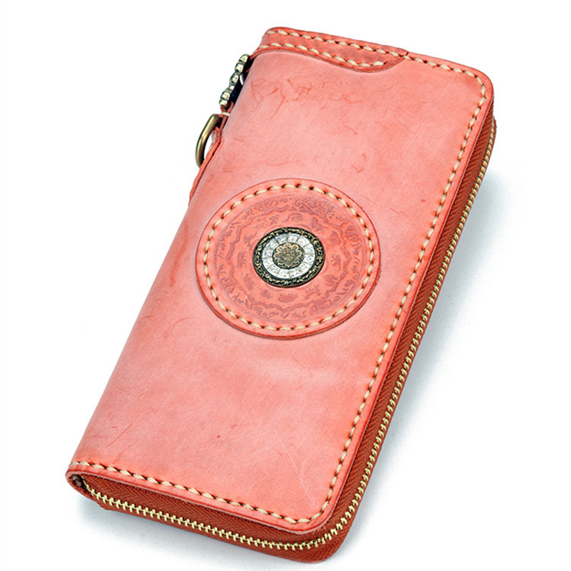 Handmade 2018 Original Women Cow Leather Wallets Lady Pink Bag Purses Long Clutch Vegetable Tanned Leather Wallet Card Holder olg yat handmade women wallet flowers handbag vegetable tanned leather wallets long zipper bags women purse pure cowhide retro