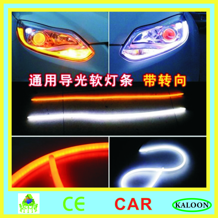 <font><b>30</b></font> 45 60 85 <font><b>cm</b></font> car flexible DRL running turn signal white amber <font><b>led</b></font> guide <font><b>bar</b></font> silicone daytime running light headlight strip image
