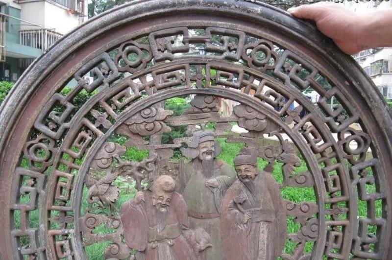 Kostenloser Versand Chinesische Alte Holz Geschnitzt Gemalt