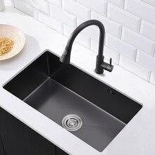 Nano 304 черный бак из нержавеющей стали большой один бак кухня ручная скамейка Нижняя украшение раковины для мытья раковины черный одна чаша подкрепление