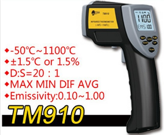 ФОТО infrared thermometer TM910 digital thermometer controller Temperature sensor range is -50 C-1100 C