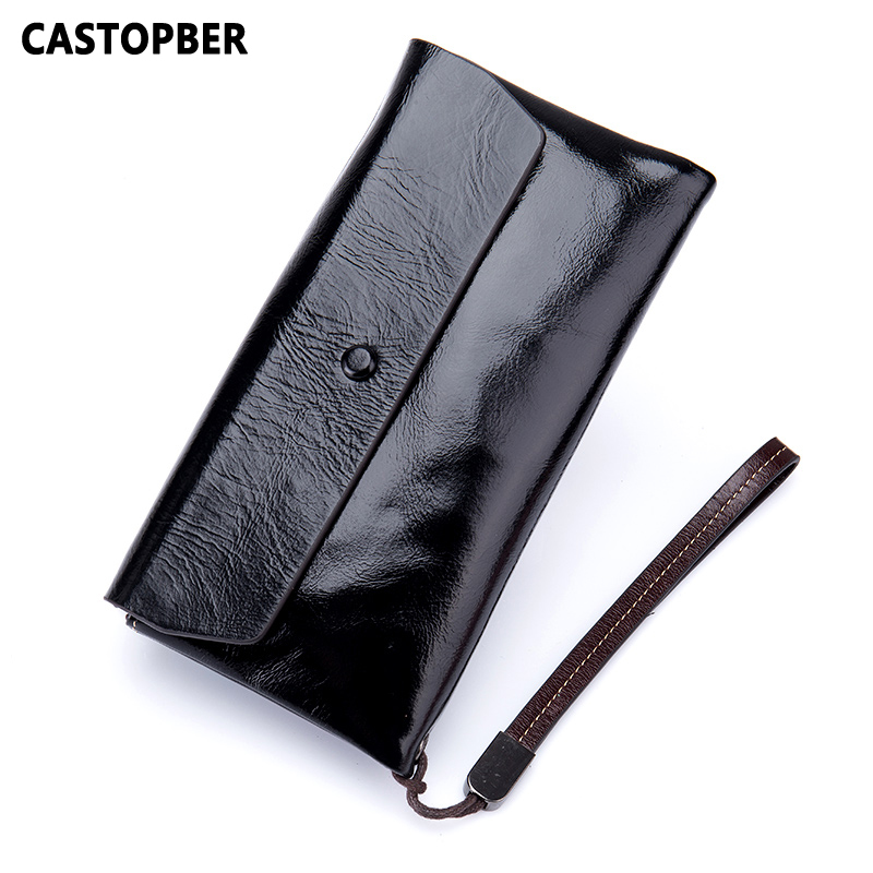 Fashion Oil Wax Leather Wallet Women Day Clutches Wallets Cow Genuine Leather Ladies Long Fold Purse Famous Brand High Quality first layer cowhide genuine leather oil wax 3 fold wallets clutch vintage fashion ladies purse female famous brand high quality