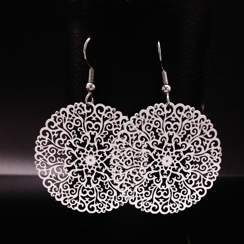 2018 novi dizajn srebrne boje velike naušnice za žene cvijet - Modni nakit - Foto 5