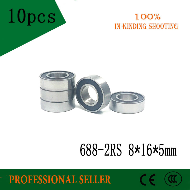 10pcs 688-2RS 8*16*5 mm ABEC-1 688 rs 688rs The Rubber sealing cove Thin wall deep groove ball bearings 688RS 10pcs high quality abec 5 688 2rs 688rs 688 2rs 688 rs l1680 8x16x5 mm miniature double rubber seal deep groove ball bearing