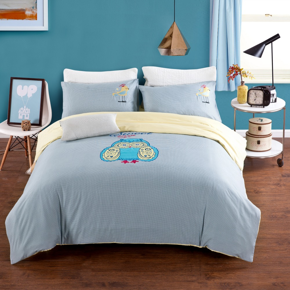 Cotton 4pcs Bedding Set Queen Size Light Blue Owl