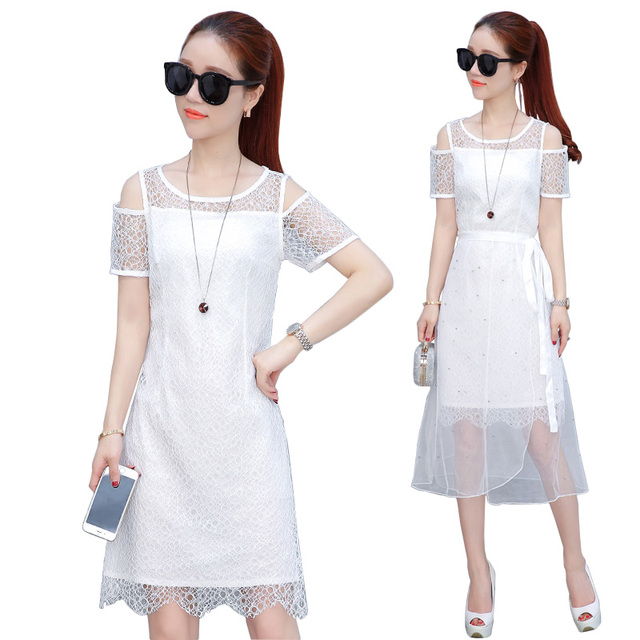 2017 Women Summer white cold shoulder Dress Elegant 2 Two Piece Set Lace party Dress hollow mesh beading dresses Robe Femme Ete
