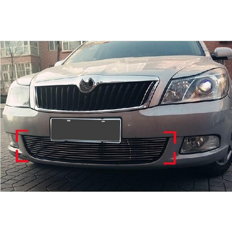 цена на High quality stainless steel Front Grille Around Trim Racing Grills Trim For 2010-2014 Skoda Octavia