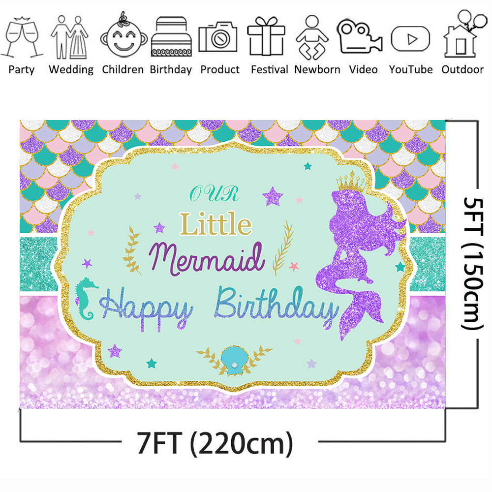 Mehofoto Little Mermaid Photo Background Birthday Party Backdrop for Girls Baby Cartoon Purple Blue Bokeh Fish Scale